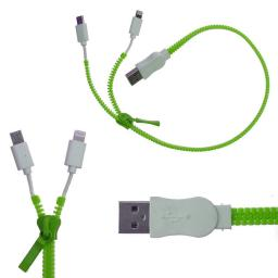 ZIP ZIPPER 2 IN 1 IPHONE5 MICRO USB DATA CABLE