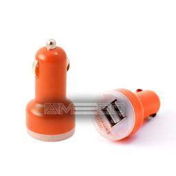 Dual Port USB Car Charger Mini Shape -  11 Colour Choices
