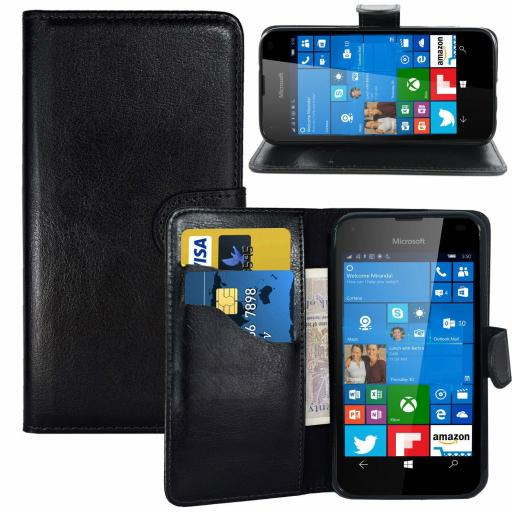 Nokia Lumia 535 PU Wallet Case Black