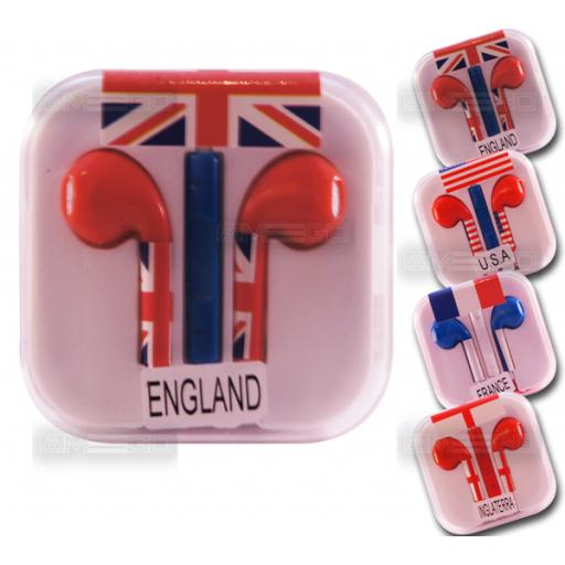 EarPods / Earphones with Mic and Remote for iPhone 5 & 4 - Country Flags