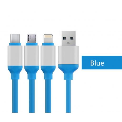 3 in 1 Type C 8 Pin Micro USB to USB 2.0 Data Charger Cable Lead for Smartphones
