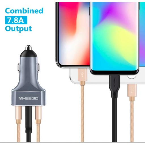 Two Port USB & One Port USBC  Fast Charge 3A Car Charger