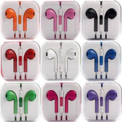 EarPods / Earphones with Mic and Remote for iPhone 5 & 4 - 9 Colours