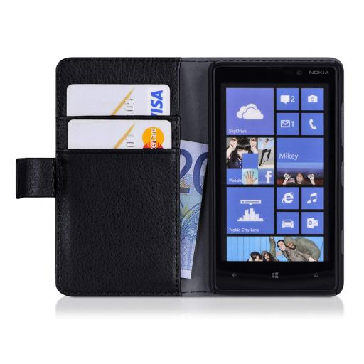 Nokia Lumia 820 PU Wallet Case Black