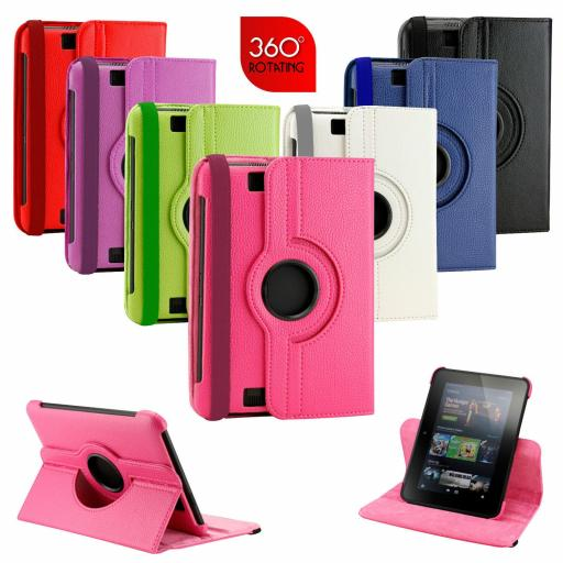 "Kindle Fire HD 7"" 360 Rotating Case - Various Colours"