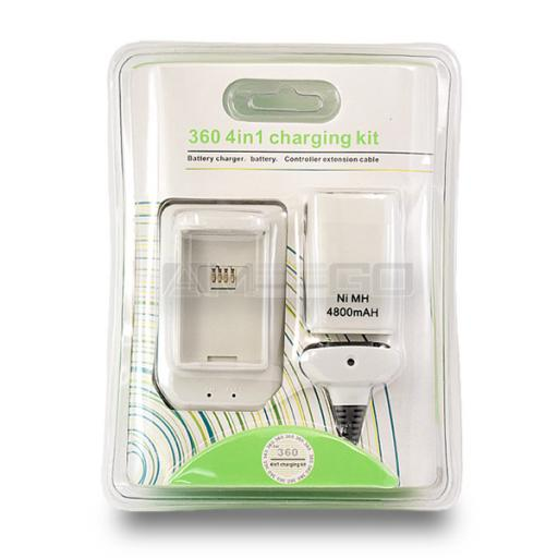 4-in-1 Charging Kit for Xbox 360 - Black or White Colour