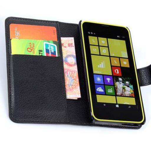 Nokia Lumia 635 PU Wallet Case Black