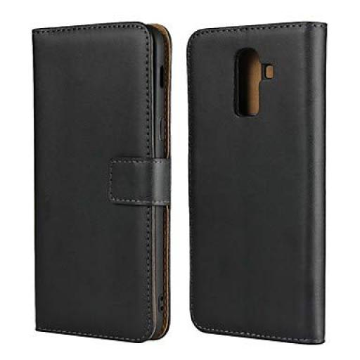 Samsung J6 2018 Genuine Black Leather Wallet Case With Film Protector