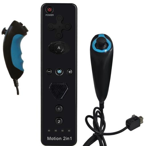 2 in 1 Built in Motion Plus Remote Controller Nunchuk Controller For Nintendo Wii - Black/Blue