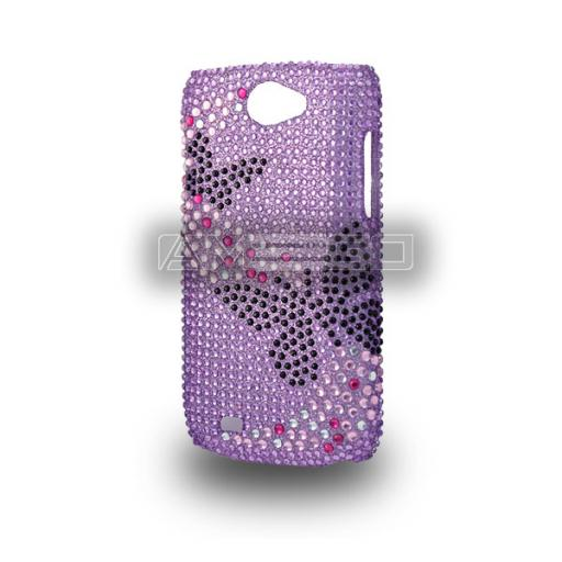 Samsung Galaxy i8150 Crystal Hardback Design Case - Purple Colour with Butterfly