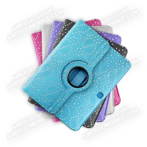 "Samsung Galaxy Tab 3 10.1"" P5200 Diamond Floral Pattern 360 Rotating Case - 5 Colours"