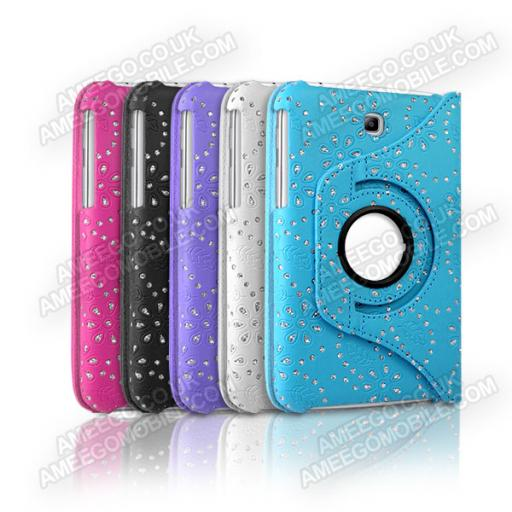 "*Samsung Galaxy Tab 3 7"" P3200 Diamond Floral Pattern 360 Rotating Case - Various Colours"