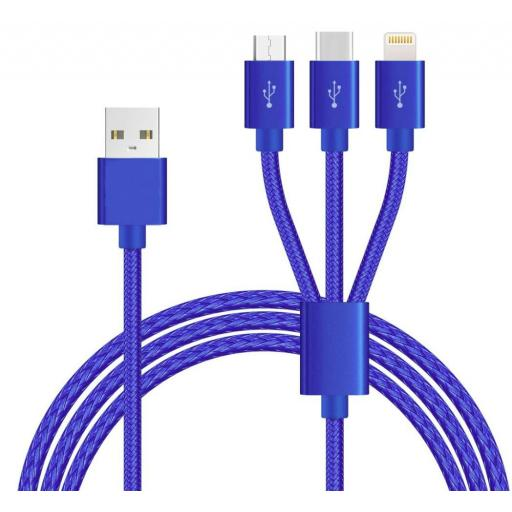 3in1 Braided Ameego Cable (3Amp)