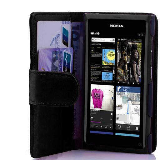 Nokia Lumia 800 PU Wallet Case Black