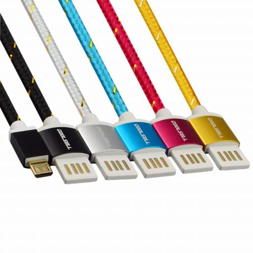 Coolsell braided cable with metal connector for micro USB