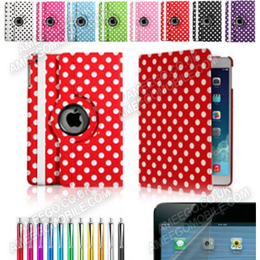 3 in 1 iPad 2/3/4 Polka Dots 360 Rotating Case - 8 Colours