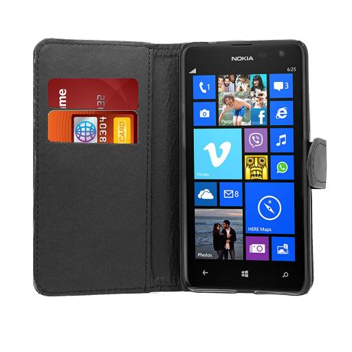 Nokia Lumia 435 PU Wallet Case Black