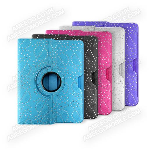 "Samsung Galaxy Tab 2 10.1"" P5100 Diamond Floral Pattern 360 Rotating Case - 5 Colours"