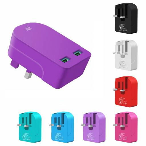 Universal Folding Dual USB Mains Plug Adapter 3.1 Amp - 7 Colours